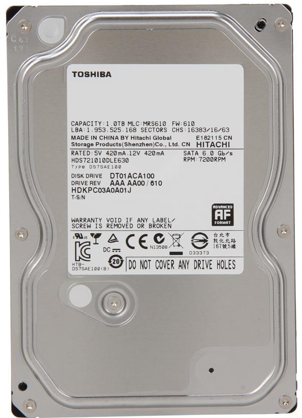 "Festplatte 1.0TB 3.5"" SATA TOSHIBA DT01ACA100 Bulk"