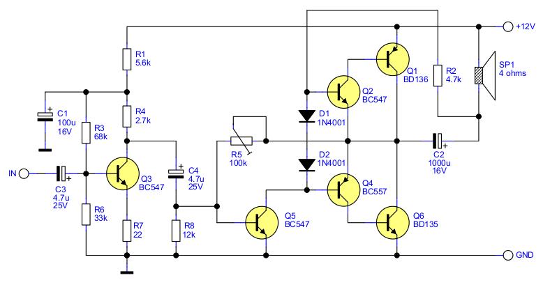 Audio-Verstärker Schema 2.5W