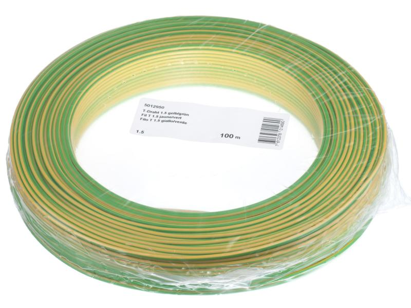 Hausinstallation Draht 1.5mm gelb/grün 100m