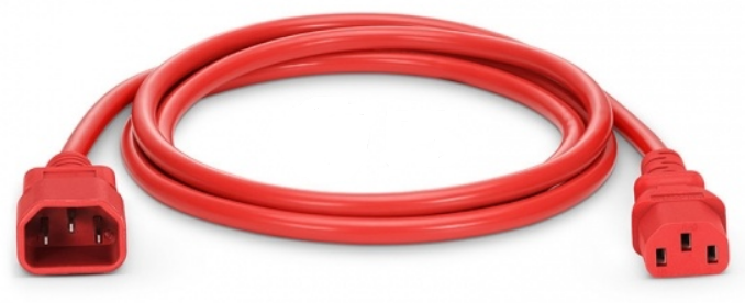 Kabel 230V USV C14 -C13 1.8m rot Kaltgerätekabel  PVC IEC320