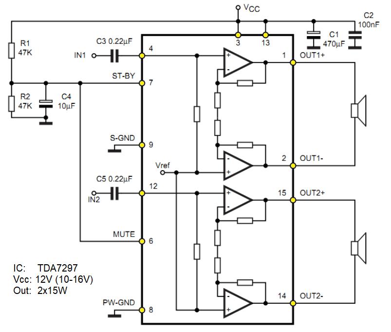 Audio-Verstärker 2x15W Bausatz TDA7297