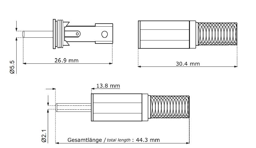 DC-Stecker Hohlstecker 5.5x2.1mm Knickschutz Lötmontage