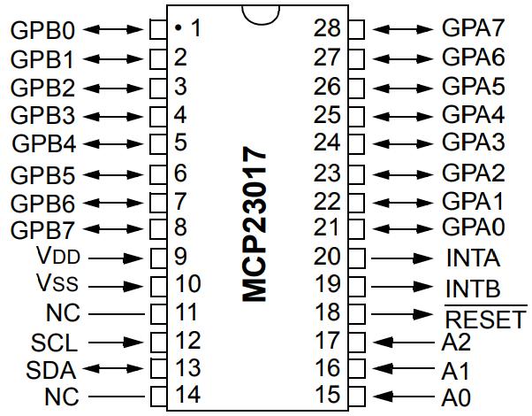 I2C MCP23017  16-Bit IO DIP28