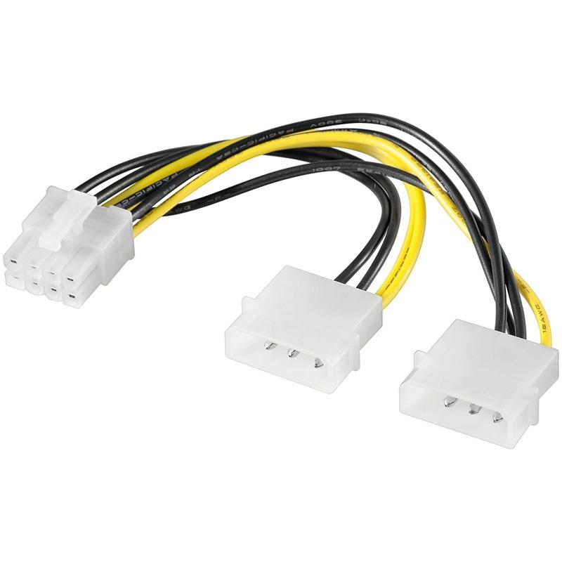PCI Express GPU Stromversorgung 2 x 4-Pin Molex auf 8-Pin Grafikkarte PCIe 8Pin