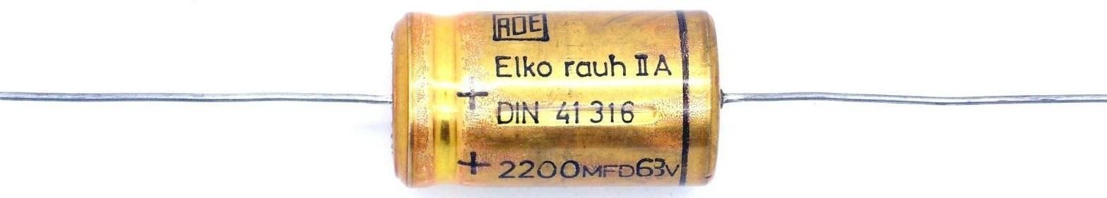 ELKO 2200uF 63V Kondensator liegend bedrahtet - Restposten