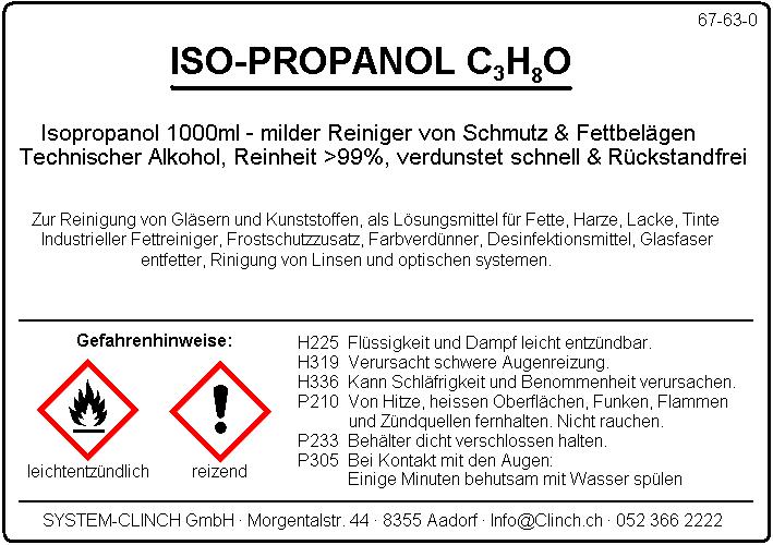 Allzweckreiniger - Isopropanol 5.0l (Isopropylalkohol)