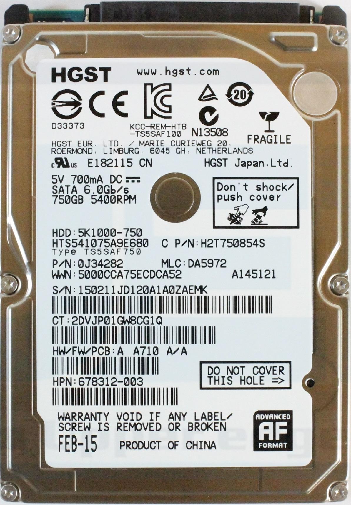 """Festplatte 750GB 2.5"""" SATA Hitachi  5K750-750 Occasion"""