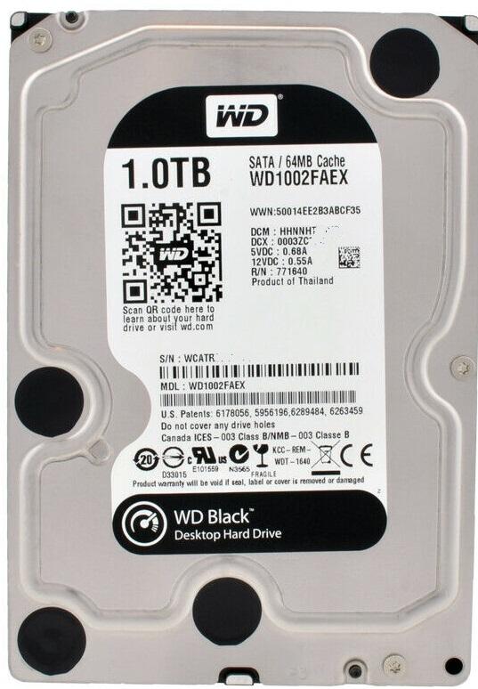 """Festplatte 1.0TB 3.5"""" SATA WD Black WD1002FAEX Occasion"""