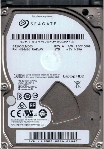 """Festplatte 2.0TB 2.5"""" SATA ST2000LM003 Bulk"""