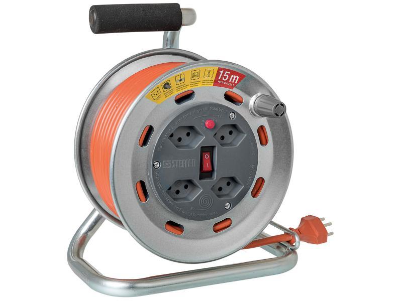 Kabelrolle 15m 1.5mm2 T12 auf 4xT13 orange