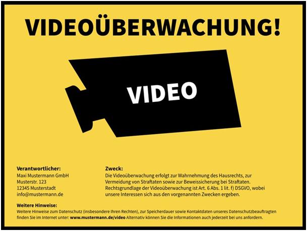 Hinweisschild Videoüberwachung gem. DSG