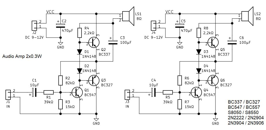 Audio Mini Verstärker Schema 2x0.3W