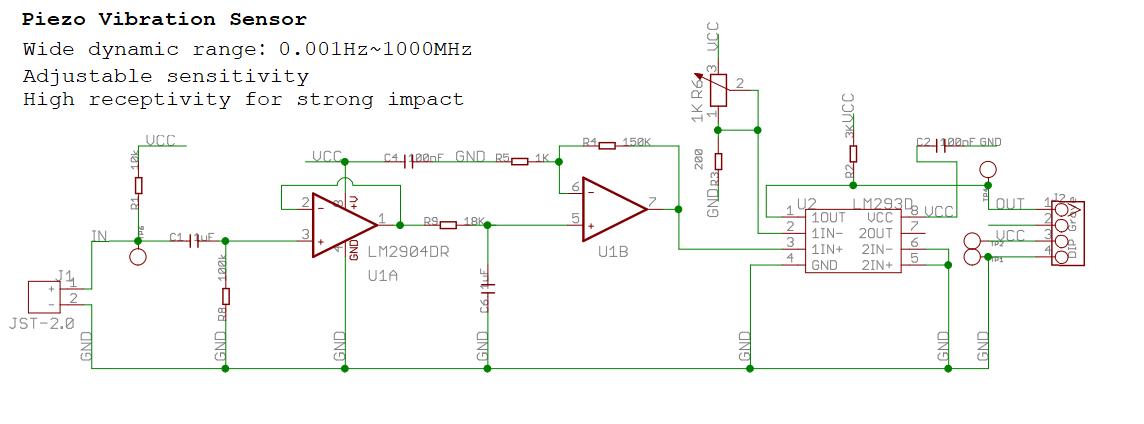 Vibrationssensor Verstärker Analog empfindlich