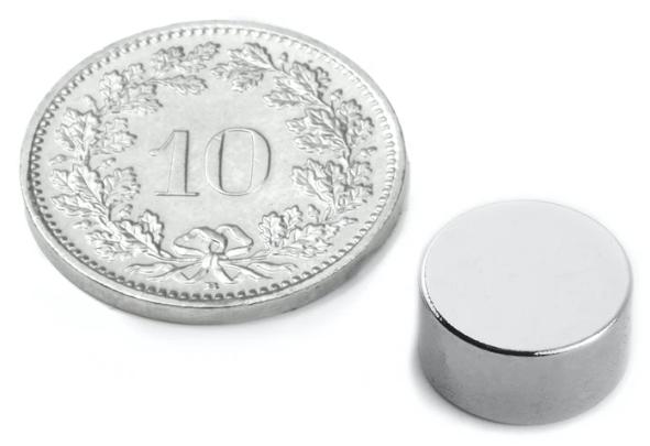 Scheiben-Magnet Durchmesser 10mm, Höhe 5mm, Kraft 2.6kg,  Set à 10 Stk.